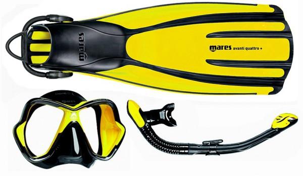 Mares Schnorchelset Quattro + X-Vision Ultra Liquidskin Ergo dry gelb schwarz
