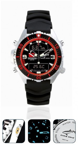 Chris Benz Depthmeter DIGITAL red Tauchuhr Uhr