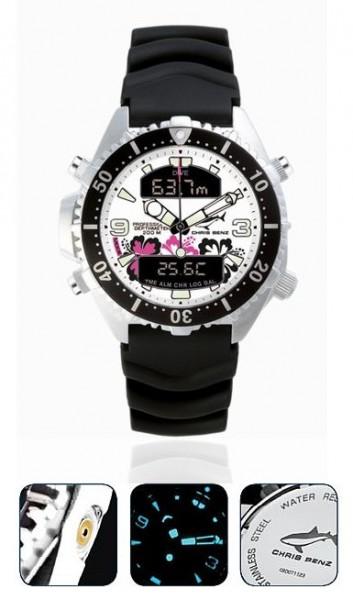 Chris Benz Depthmeter DIGITAL Aloha Tauchuhr Taucheruhr Uhr