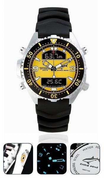 Chris Benz Depthmeter DIGITAL Yellow Tauchuhr Taucheruhr Uhr