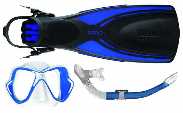 Mares Schnorchelset Wave X-Vision Ultra Liquidskin Ergo Splash schwarz blau