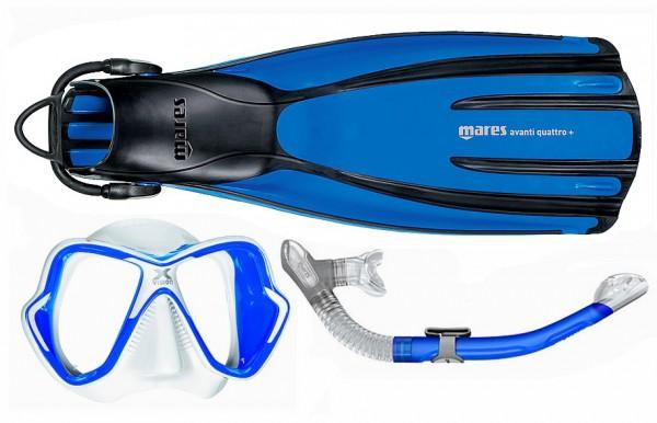 Mares Schnorchelset Quattro + X-Vision Liquidskin Ergo dry blau