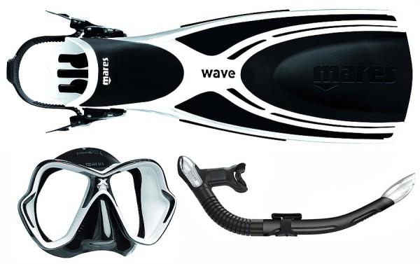 Mares Schnorchelset Wave X-Vision Ultra Liquidskin Ergo Splash schwarz weiß