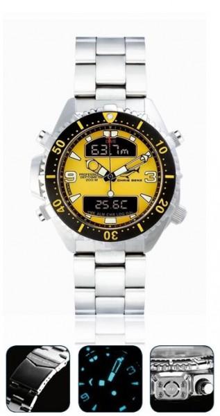 Chris Benz depthmeter DIGITAL Yellow Tauchuhr Metallband Uhr