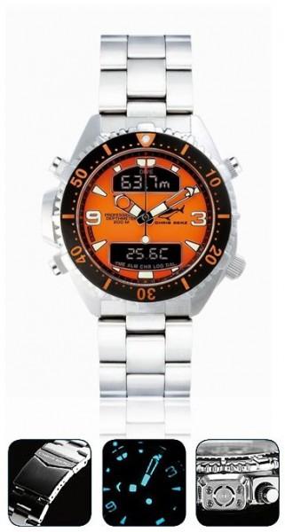 Chris Benz depthmeter DIGITAL orange Tauchuhr Metallband Uhr