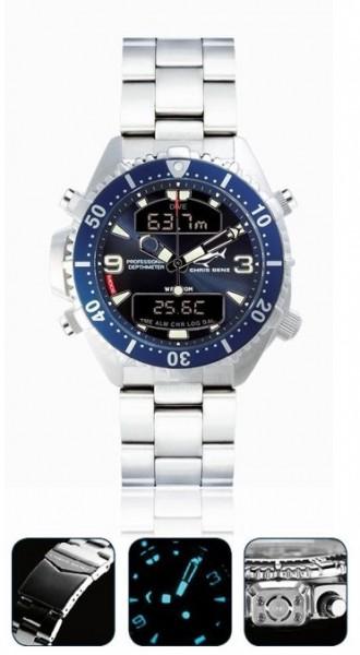 Chris Benz depthmeter DIGITAL blue Tauchuhr Metallband Uhr