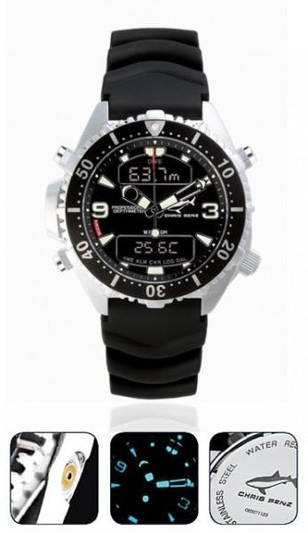 Chris Benz Depthmeter DIGITAL Black Tauchuhr Taucheruhr Uhr