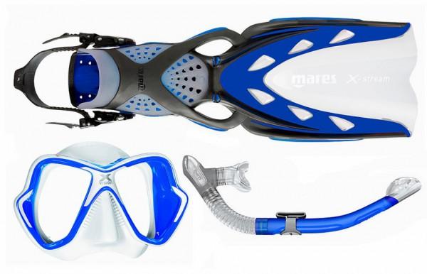 Mares Schnorchelset X-Stream X-Vision Ultra Liquidskin Ergo dry blau