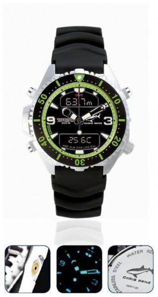 Chris Benz Depthmeter DIGITAL Green Tauchuhr Taucheruhr Uhr