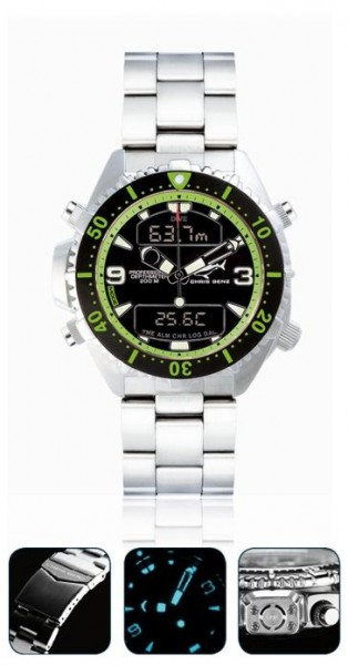 Chris Benz depthmeter DIGITAL green Tauchuhr Metallband Uhr