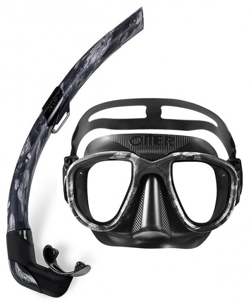 Omer Alien Camu 3D black moon Set Apnoe Maske + Schnorchel Freitauchmaske Taucher Maske