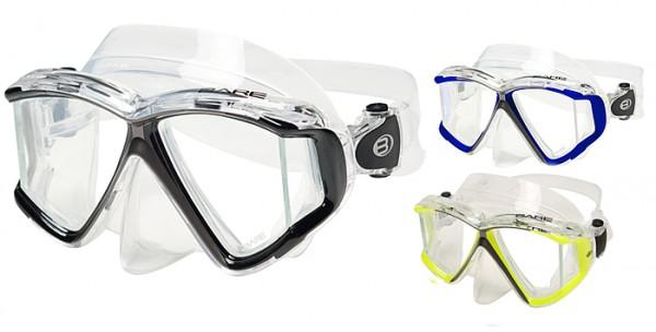 Bare Quad C Tauchmaske Vierglas Panorama Tauchermaske schwarz / Clear
