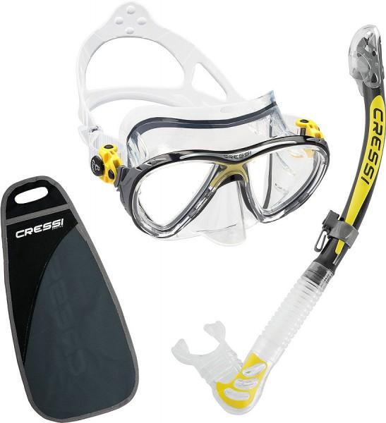 Cressi Big Eyes Evolution Tauchmaske Maske alpha ultra dry Schnorchel Set gelb / silver / clear