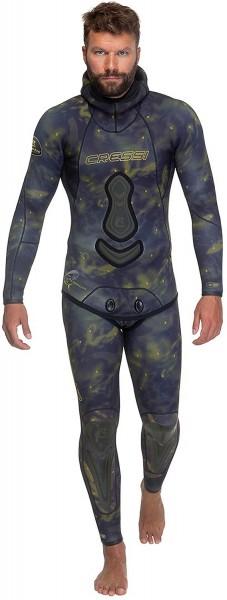 Cressi Lampuga 7 mm Jacket + 5mm Hose blau Camou Apnoe Speerfischer Freitaucher Frei Taucher Anzug