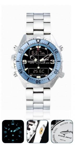 Chris Benz depthmeter DIGITAL Karibikblue Tauchuhr Metallband Taucher Uhr
