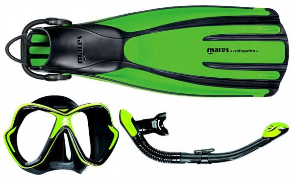 Mares Schnorchelset Quattro + Tauchmaske X-Vision Schnorchel Ergo dry grün