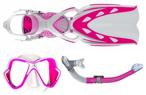 Mares Schnorchelset X-Stream X-Vision Ultra Liquidskin Ergo dry pink weiß