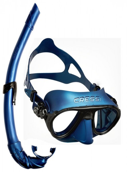 Cressi Calibro Apnoe Freitaucher Maske Tauchmaske blau + Apnoe Schnorchel Corsica blau Taucher tauch