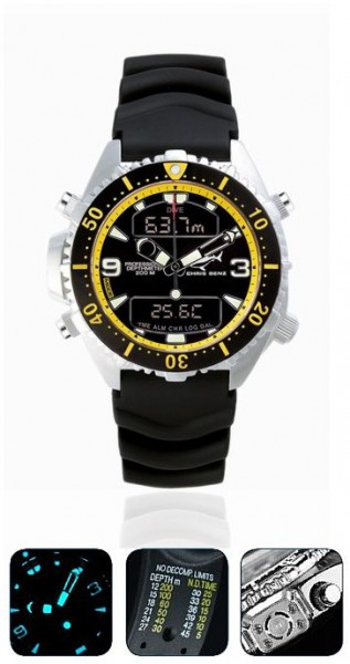 Chris Benz Depthmeter DIGITAL Yellowblack Tauchuhr Taucheruhr Taucher Uhr