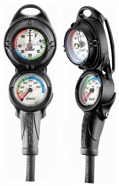 Cressi PD2 2er Konsole Finimeter 350 Bar + Tiefenmesser Taucher Flaschendruck Messgerät