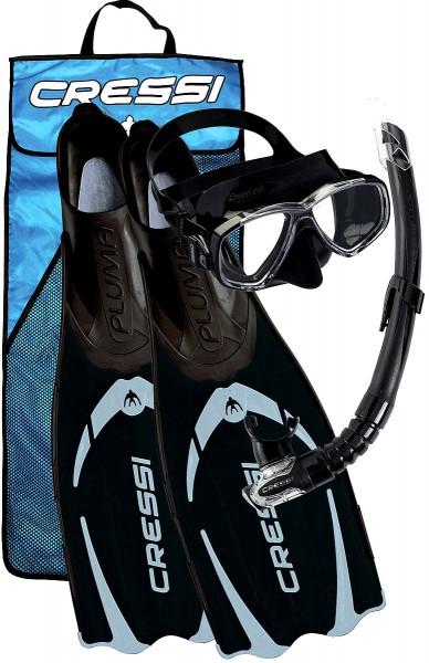Cressi Pluma Bag Schnorchel Set Flossen Maske und Schnorchel schwarz