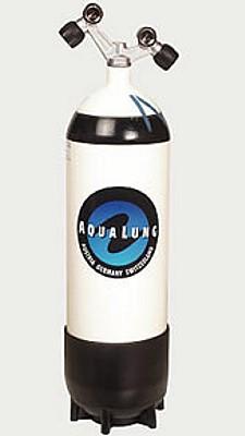 Aqualung 10 Liter Taucher Flasche Tauchflasche Pressluftflasche Standfuss Doppelventil