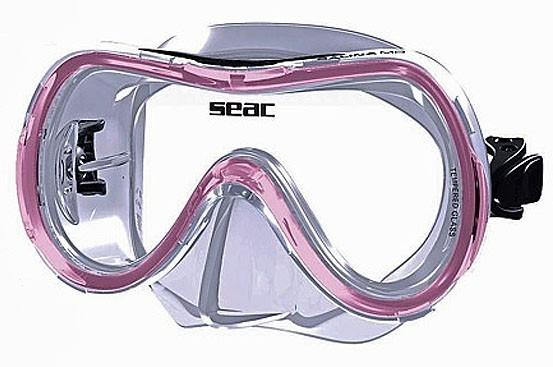 Seac Sub Selina MD Kinder Taucher Maske Brille clear / rosa Tauchmaske Schnorchel Maske