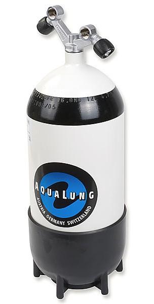 Aqualung 12 Liter Tauchflasche Taucher Flasche Pressluftflasche Standfuss Doppelventil tauchen