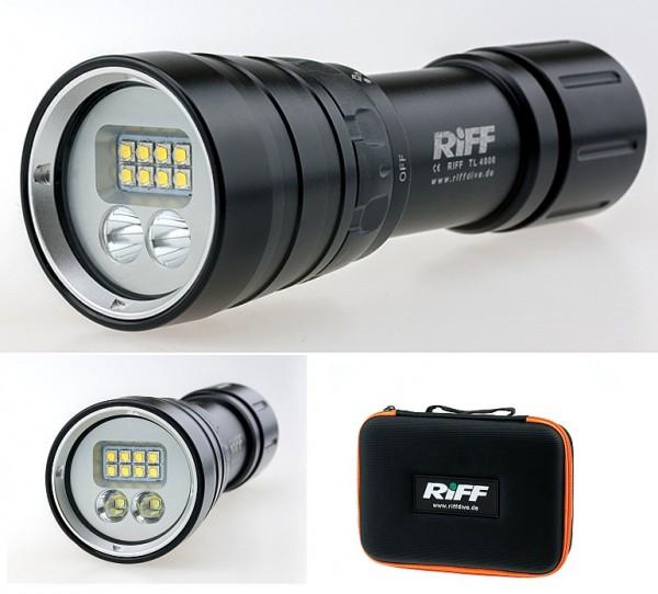 Riff TL 4000 Video Taucher Lampe mit Spot Licht Tauchlampe tauchen filmen Unterwasser