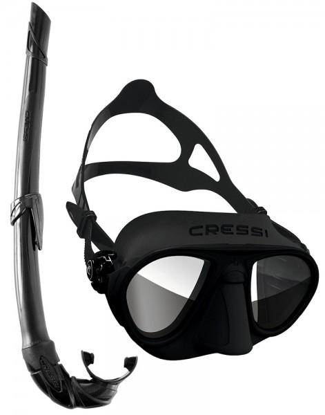 Cressi Calibro Apnoe Freitaucher Maske HD Spiegelglas Tauchmaske + Apnoe Schnorchel Corsica schwarz