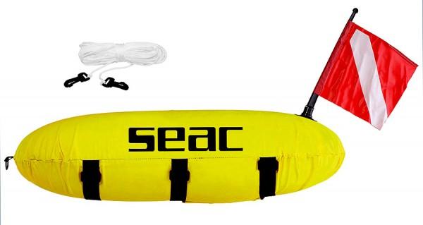Seac Sub Master Torpedo Boje Fahne Schnur 2 Schichtig gelb fluoreszierend PVC Stoff Apnoe Freitauche