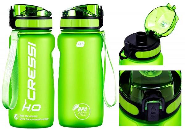 Cressi Wasserflasche H2O Frosted 0,6 Liter Trink Wasser Getränke Sport Flasche Klick Verschluss grün