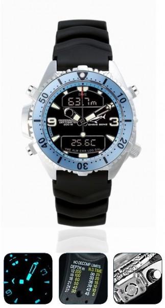 Chris Benz Depthmeter DIGITAL Karibikblau Tauchuhr Taucheruhr Taucher Uhr