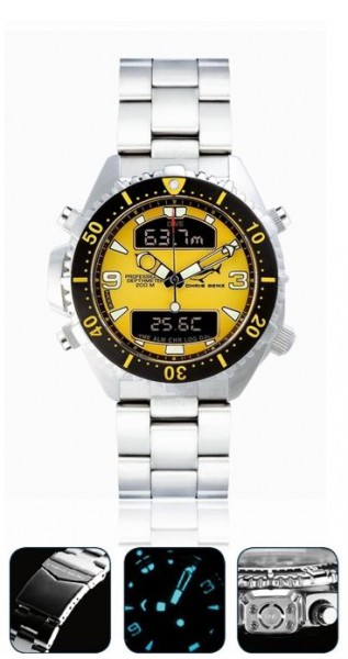 Chris Benz depthmeter DIGITAL Yellow Tauchuhr Metallband Taucher Uhr