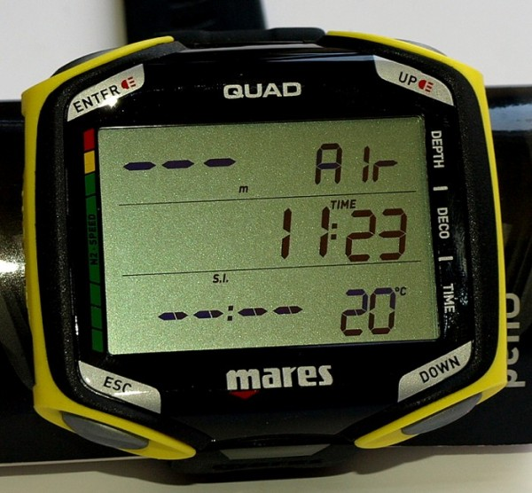 Mares Quad Tauchcomputer Taucher Computer Multigas Fähig Armband schwarz gelb