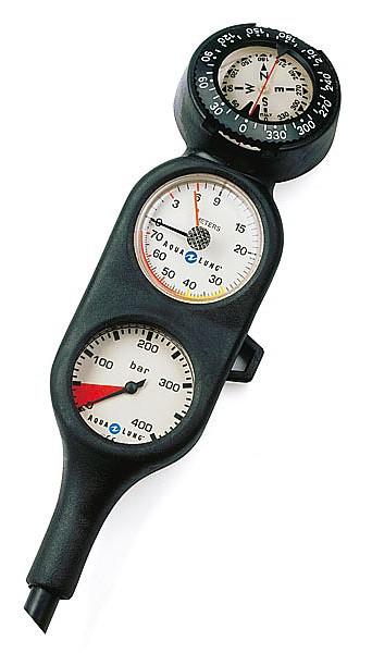 Aqualung 3er Konsole Finimeter Tiefenmesser Kompass