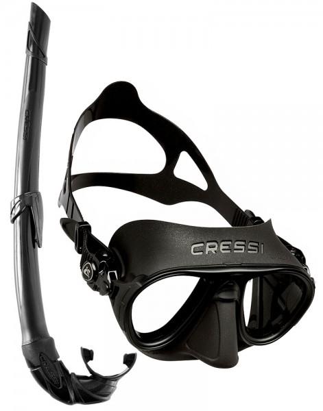Cressi Calibro Apnoe Freitaucher Maske Tauchmaske + Apnoe Schnorchel Corsica schwarz Taucher tauchen