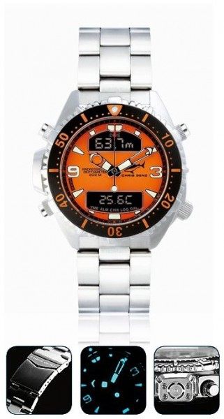Chris Benz depthmeter DIGITAL orange Tauchuhr Metallband Taucher Uhr