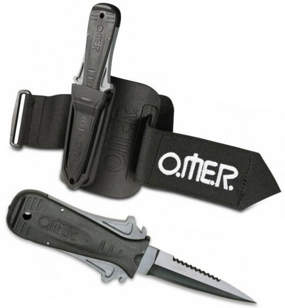 Omer Mini Laser Apnoe Tauchmesser Freitaucher Taucher kleines Messer mit Arm Halterung tauchen
