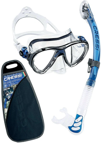 Cressi Big Eyes Evolution Tauchmaske Maske alpha ultra dry Schnorchel Set blau / clear