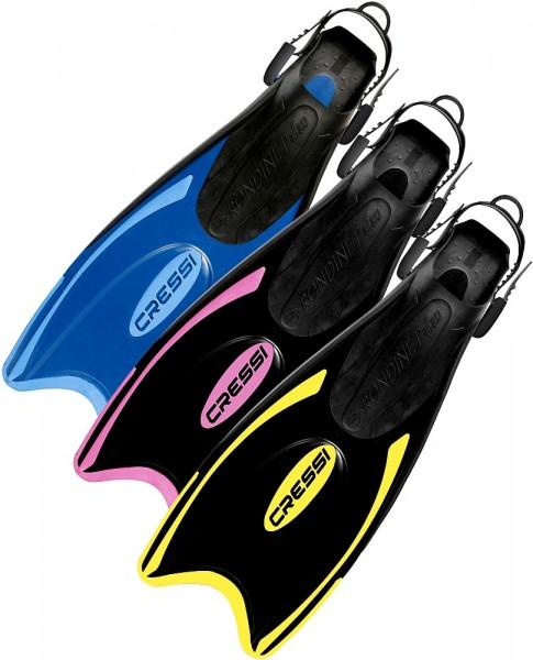 Cressi Palau Schwimmflossen Schnorchel Flossen tauchen Training Fersen Band schwarz/gelb Gr. 38-41