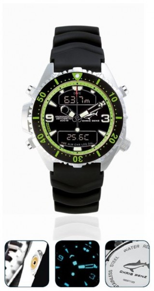 Chris Benz Depthmeter DIGITAL Green Tauchuhr Taucheruhr Uhr