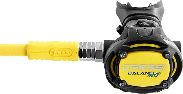 Cressi Balanced MG Oktopus zweite Stufe alternative Luftversorgung mit MD Schlauch gelb tauchen