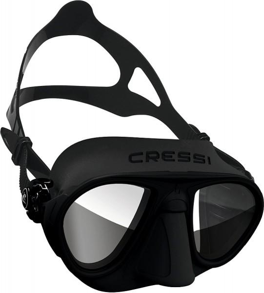 Cressi Calibro Apnoe Freitaucher Maske Tauchmaske schwarz Spiegelglas