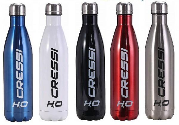Cressi Wasserflasche H20 0,5 Liter Alu Sport Trinkflasche Kühl halte Wasser Flasche Getränke Doppel