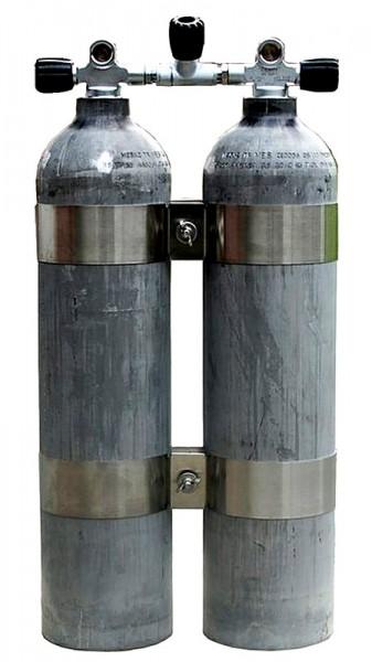 MES / Polaris 2 x 11,1 lt. Tauchflasche Taucher Flasche Aluminium Doppelflasche + Absperrbrücke