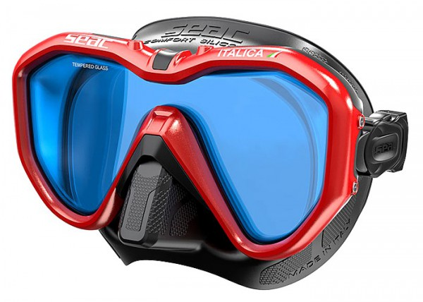 Seac Sub Italica Taucher Maske Tauchmaske Spiegelglas rot / schwarz