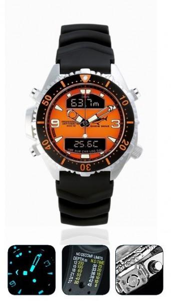 Chris Benz Depthmeter DIGITAL orange Tauchuhr Taucheruhr Taucher Uhr