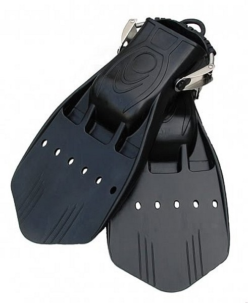 Polaris Pro Jet Tauchflossen Taucher Flosse mit Springstraps schwere Gummi Flosse schwarz