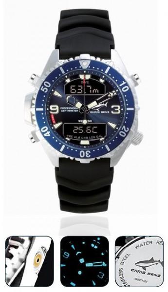 Chris Benz Depthmeter DIGITAL blue Tauchuhr Taucheruhr Taucher Uhr